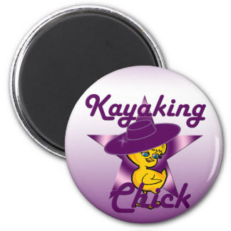 Kayaking Chick #9 2 Inch Round Magnet