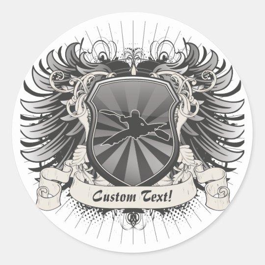 Kayaking Crest Classic Round Sticker