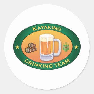 Kayaking Drinking Team Classic Round Sticker
