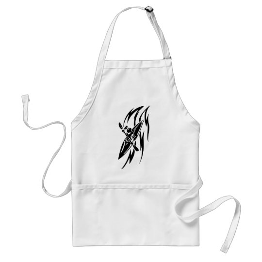 Kayaking Extreme Sport Graphic in Black & White Adult Apron