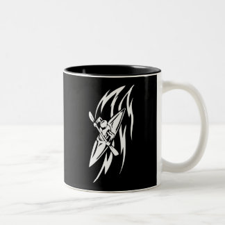 Kayaking Extreme Sport Graphic in Black & White Two-Tone Coffee Mug