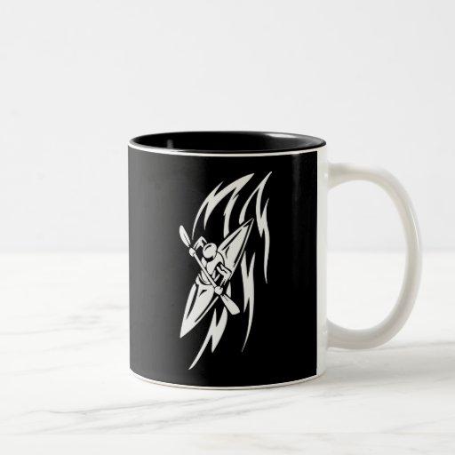 Kayaking Extreme Sport Graphic in Black & White Two-Tone Coffee Mug