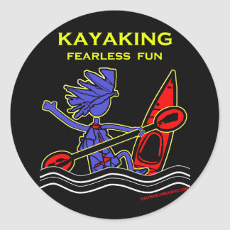 Kayaking Fearless Fun Classic Round Sticker