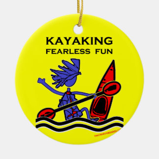 Kayaking Fearless Fun Double-Sided Ceramic Round Christmas Ornament