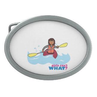 Kayaking Girl Oval Belt Buckle