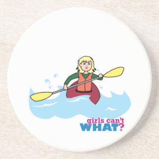 Kayaking Girl - Light Blonde Beverage Coaster