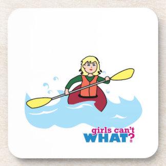 Kayaking Girl - Light Blonde Drink Coasters