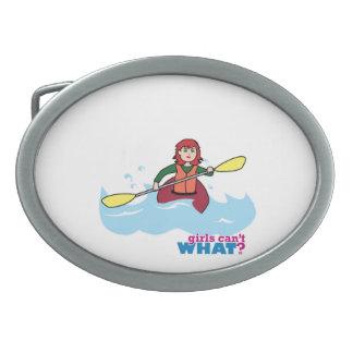 Kayaking Girl - Light/Red Oval Belt Buckles