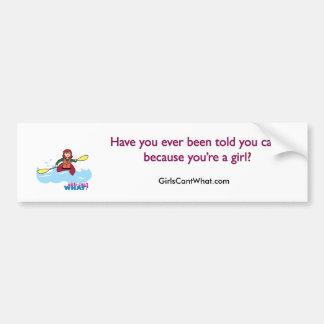 Kayaking Girl - Light/Red Bumper Sticker