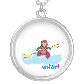 Kayaking Girl - Light/Red Personalized Necklace