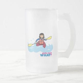 Kayaking Girl - Medium Frosted Glass Beer Mug