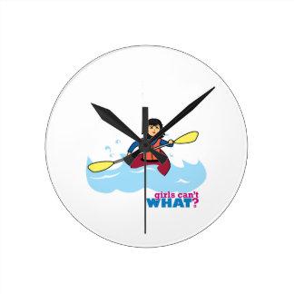 Kayaking Girl - Medium Round Clock