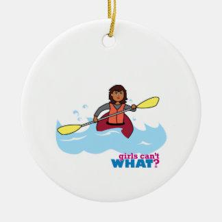 Kayaking Girl Christmas Ornaments