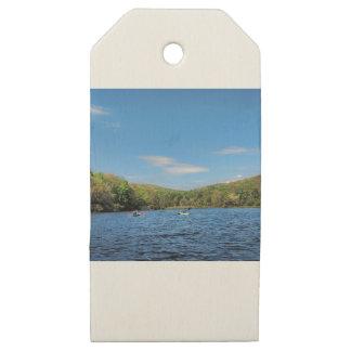 Kayaking Hidden Valley Lake Wooden Gift Tags