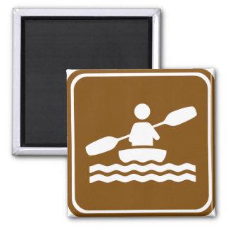 Kayaking Highway Sign 2 Inch Square Magnet