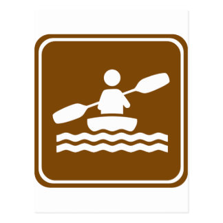Kayaking Highway Sign Postcard