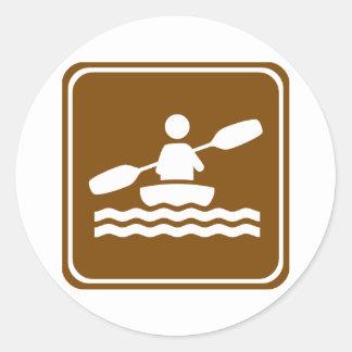 Kayaking Highway Sign Classic Round Sticker