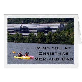 KAYAKING HUMOR AS I MISS PARENTS AT CHRISTMAS GREETING CARD