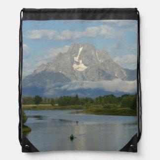 Kayaking in Grand Teton Drawstring Backpack
