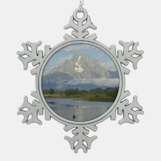 Kayaking in Grand Teton National Park Snowflake Pewter Christmas Ornament