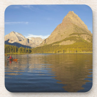 Kayaking in Swiftcurrent Lake at sunrise in the Beverage Coaster