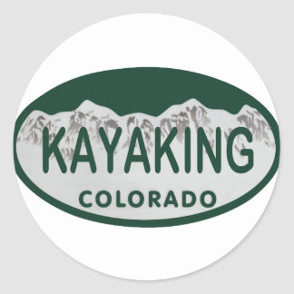 Kayaking license oval classic round sticker
