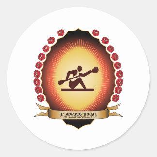 Kayaking Mandorla Round Sticker