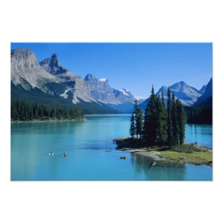 Kayaking on Maligne Lake at Spirit Island Photo Print