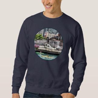 Kayaking on the Chicago River Near Centennial Foun Pullover Sweatshirt