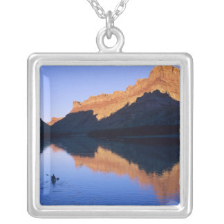 Kayaking on the Colorado River in Spanish Square Pendant Necklace