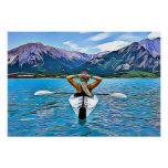 Kayaking on the Ocean by the Mountains Poster