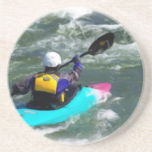 Kayaking On The River Drink Coasters