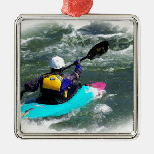 Kayaking On The River Metal Ornament