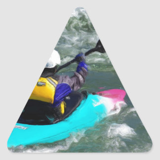 Kayaking On The River Triangle Sticker