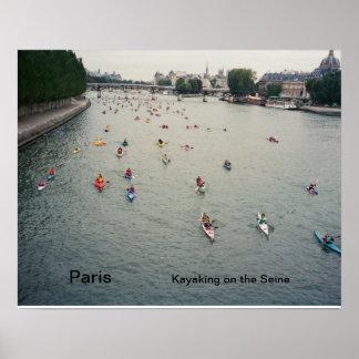 Kayaking on the Seine, Paris Poster