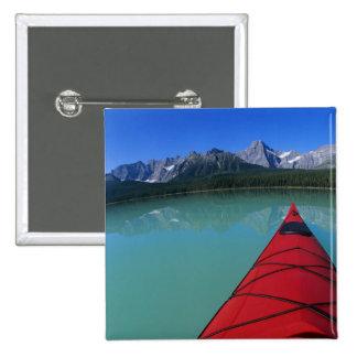 Kayaking on Waterfowl Lake below Howse Peak Button