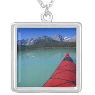 Kayaking on Waterfowl Lake below Howse Peak Square Pendant Necklace