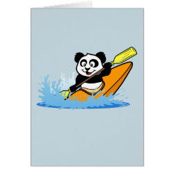 Greeting Card with Cute Kayaking Panda design