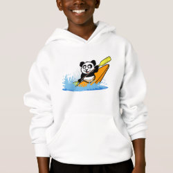 Girls' American Apparel Fine Jersey T-Shirt with Cute Kayaking Panda design