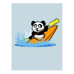 Postcard with Cute Kayaking Panda design