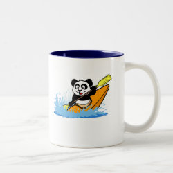 Two-Tone Mug with Cute Kayaking Panda design
