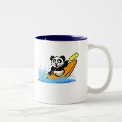 Two-Tone Mug with Cute Kayaking Panda design