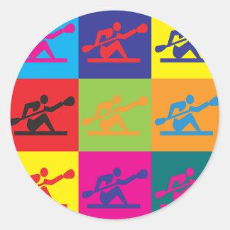 Kayaking Pop Art Classic Round Sticker