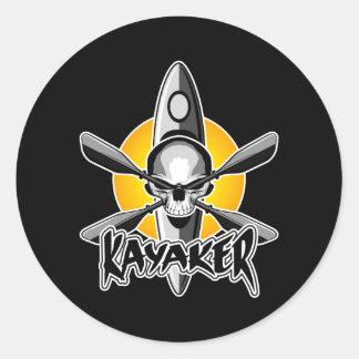 Kayaking Skull Classic Round Sticker
