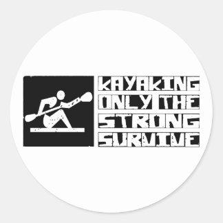 Kayaking Survive Round Stickers