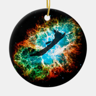 Kayaking the rapids of a star cluster. ceramic ornament