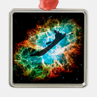 Kayaking the rapids of a star cluster. metal ornament