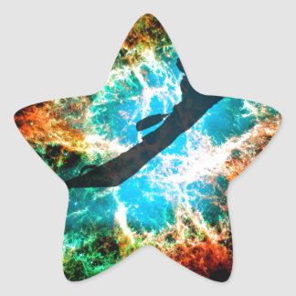 Kayaking the rapids of a star cluster. star sticker
