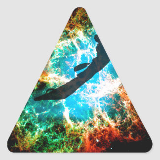 Kayaking the rapids of a star cluster. triangle sticker