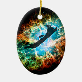 Kayaking the streams of a star cluster. ceramic ornament